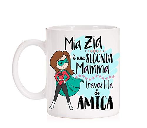 FUNNY CUP Tazza Mia Zia é Una seconda Mamma travestita de Amica. Tazza Migliore Zia in Ceramica