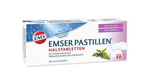 Emser Pastillen Halstabletten mit Salbei, zuckerfrei – Bei Halsschmerzen, Husten und starker Stimmbelastung – 30 Stück