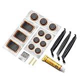 MUSCCCM Kit de réparation de vélos, kit de réparation de pneus légers 19PCS, adapté à la réparation de pneus de vélos Motos