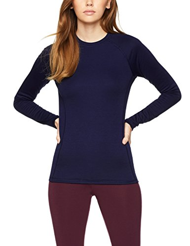 Amazon-Marke: Iris & Lilly Damen langarm Thermo-Oberteil, 2er Pack, Blau (Navy), L, Label: L
