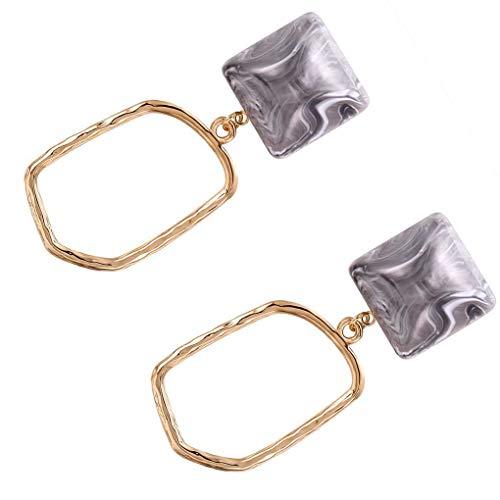 Boburyl 1 Pair Women Girls Irregular Hoop Stud Earrings Marble Pattern Drop Dangle Earrings Jewelry