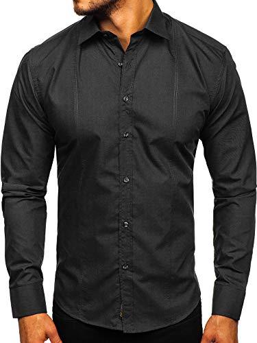 BOLF Herren Hemd Elegant Langarm Jeanshemd Casual Style Slim Fit 4705G Schwarz L [2B2]