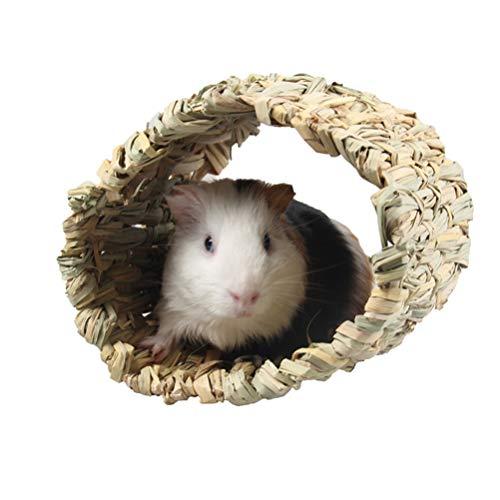 POPETPOP Cachette de Cochon Dinde - Refuge de Lapin Tressé Hutte Dherbe Cubby Nid Cage Cage pour Lapin Hamster Gerbille Chinchillas