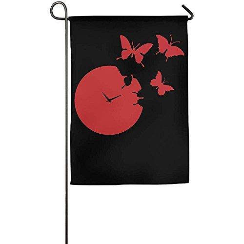 KDU Fashion Family Flags,Dekorative Flaggen-Fahnen-Nette Rote Schmetterlings-Uhr Clipart-Haus-Flagge 48Cmx32Cm