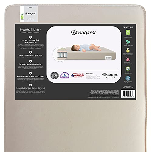 Beautyrest Beginnings Naturally Healthy Nights 2-Stage Premium Innerspring Crib and Toddler Mattress - Waterproof - GREENGUARD Gold Certified (Non-Toxic) - Trusted - Made in USA