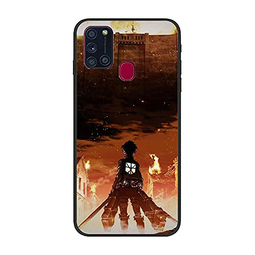 Joestar Black Coque Shockproof Thin Protective Soft Liquid TPU Case Cover for Samsung Galaxy A21s-Attack on Titan-Eren 8