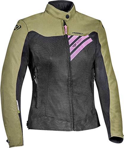 Ixon, blouson moto Orion femme noir kaki rose, L
