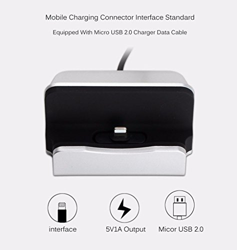 YooGoal Docking Station Desk Charger, Charging Dock, Charge and Sync Phone Stand Compatible With Phone XS Max XS XR X 8 8Plus 7 7Plus 6 6S Plus 5 5S SE and More (Silver)