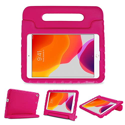 ProCase Kids Case for iPad 10.2 2019/ iPad Pro 10.5/ iPad Air 3, Shockproof Convertible Handle Stand Cover Light Weight Kids Friendly Super Protective Case for Apple iPad 10.2' 7th Generation -Magenta