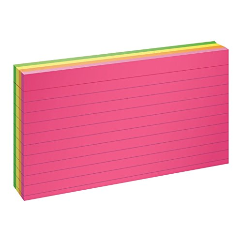 "Oxford Neon Index Cards, 3"" x 5"", Ruled, Assorted Colors, 100 Per Pack (40279)"