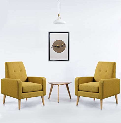 Funkeen Upholstered Modern Accent Chair Comfy Arm Chair Set of 2 Linen Fabric Single Sofa Chair Living Room Chair with Arms Mustard Yellow