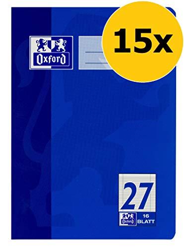 Oxford Schule Schulheft A5, liniert, Lineatur 27, dunkelblau, 15er Pack