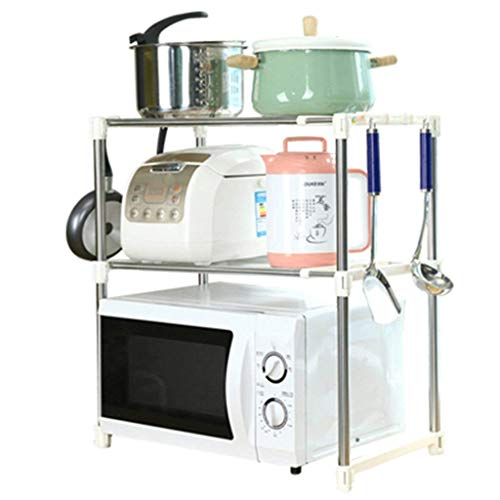 GUOSHUCHE Estantería Estante del horno microondas estante de cocina de acero inoxidable con doble horno plataforma retráctil de almacenamiento en rack Electrodomésticos de cocina (Color: plata, tamaño