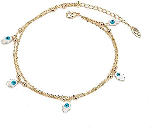 NC188 Collar Mano Estrella Mariposa Tobillera Cadena de pie Turco Mal de Ojo Pulsera de Tobillo para Mujeres niñas