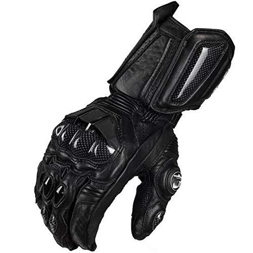 ZHAORLL Winter Warm Motorrad Handschuhe Full Race Handschuhe Offroad Motorrad Leder Carbon Fiber Handschuhe (M, L, XL),Black,XL