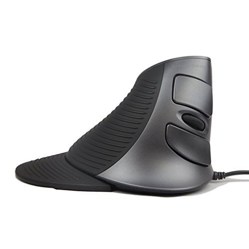 J-Tech Digital Scroll Endurance Wired Mouse Ergonomic Vertical USB w/Adjustable Sensitivity (600/1000/1600 DPI) Removable Palm Rest & Thumb Buttons, Reduces Hand/Wrist Pain (Renewed)