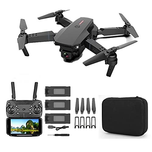 SWETIY Drone E88, Mantenimento Dell'altitudine, Modalit¨¤ Senza Testa, Capovolgimento 3D, RC Droni Quadricottero con 20 Minuti di Volo, Nero 3 Batterie