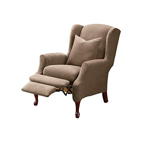 SURE FIT Home Décor SureFit Stretch Pique-Reclining Wing Chair Slipcover-Taupe (SF37311)
