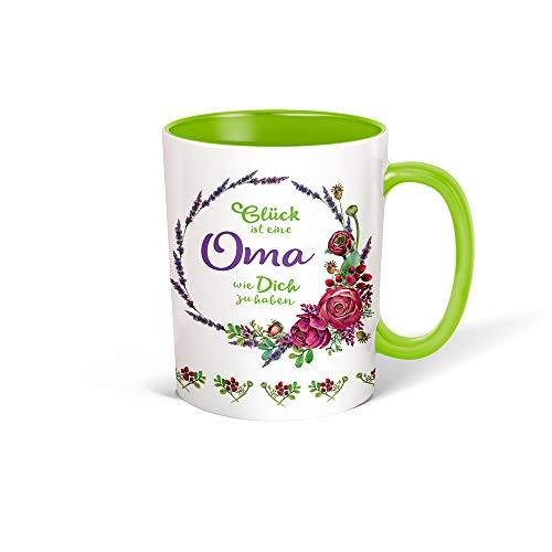 Trötsch Tasse Kranz Oma weiß grün: Kaffeetasse Teetasse Geschenkidee Geschenk (Keramiktasse / Blumenkranz)