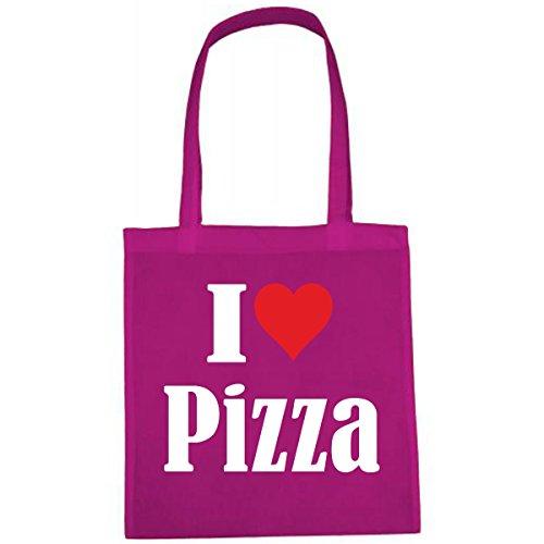 Tasche I Love Pizza Größe 38x42 Farbe Pink Druck Weiss