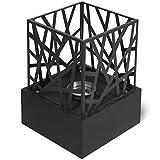 Biochimenea - con Quemador de Acero Inoxidable, Panel de Diseño, Piedras Decorativas y Apagador de Llama, Base Cuadrada de Color Negro, 20,7x20,7x29,5cm - Chimenea de Bioetanol