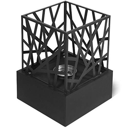 Jago® Caminetto da Tavolo - Portatile, 20,7x20,7x29,5cm, Quadrato, Acciaio Inossidabile, con Pietre Decorative - Caminetto a Bioetanolo, da Pavimento, da Terra