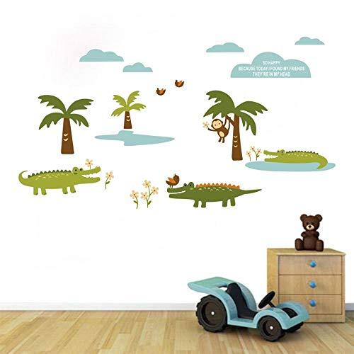 Autocollants Décoratifs Bande Dessinée Crocodile Amis Wall Point Art Décor Autocollant Pour Enfants Chambre Décoration Parm Arbre Singe Oiseaux Fleur Nuage Stickers Muraux