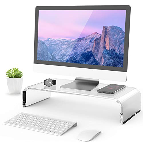 MaxGear Clear Acrylic Monitor Stand, Computer Monitor Stand Riser for Home Office Business with Sturdy Platform, PC Desk Stand for Keyboard Storage & Multi-Media Laptop Printer, 16.5 inches, 1 Pack