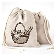 "Linen Bread Bags - 3 Pack 11 x 15"" Speical Art Design Natural Unbleached Linen Reusable Food Safe Storage for Homemade Artisan Bread"
