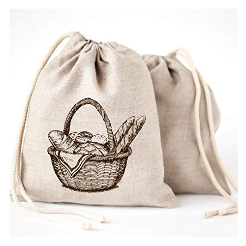 Linen Bread Bags - 3 Pack 11 x 15' Speical Art Design Natural Unbleached Linen Reusable Food Safe Storage for Homemade Artisan Bread