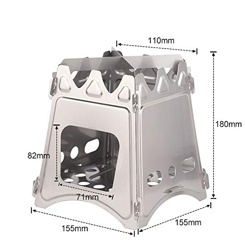 Herui Stainless Steel Picnic Stove for Wood Burning Camping Portable Cooking Stove Alcohol Burner Pocket Stove (Steelstain stove3)