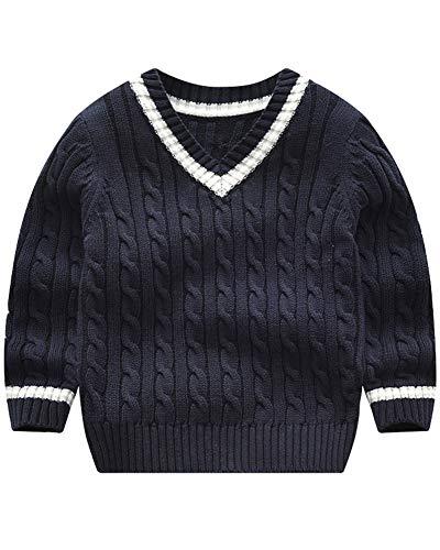 Niños Niñas Jersey De Punto Cuello En V Manga Larga Suéter Pullover Azul Zafiro 4T Adecuado para la Altura: 100CM