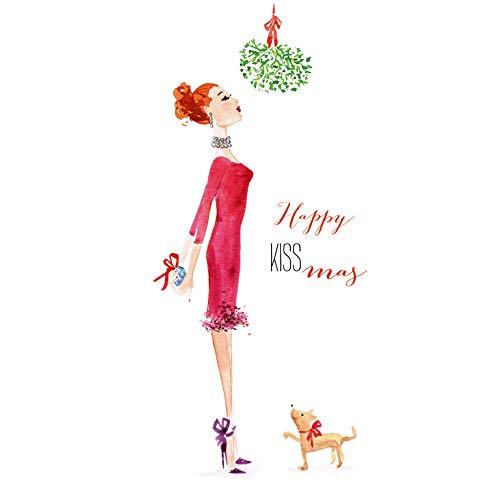 Miss Lovely Witzige Weihnachts-Servietten Happy Kiss-Mas X-Mas lustige Deko Comic- 33x 33cm - Weihnachts-Deko/Tisch-Dekoration Weihnachten/Advent/Weihnachts-Feier/Winter 40 Servietten