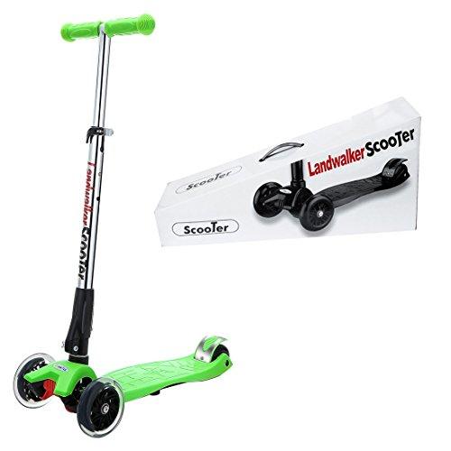 Landwalker キッズ スクーター 子供用 3輪 キックボード LED 光るウィール 後輪ブレーキ 折りたたみ式(ベル付き 風車付き)グリーン