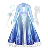 WonderBabe Princess Dresses for Girls Party Role Play Princess Costume Little Girls Halloween Dress Up Sequins Organza Princess Outfit 5-6 Years