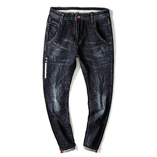 YANGPP Side Striped Jeans Herren Streetwear Dunkelblau Slim Straight Stretch Moto Biker Jeans Für Jungen Hip Hop Cowboys Jeans, Dunkelblau, 32