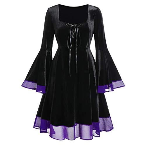 Masrin Frauen Kleid Vintage Plus Größe Halloween Lace Up Patchwork Rock Langarm Cosplay Ballkleider(M,Lila)
