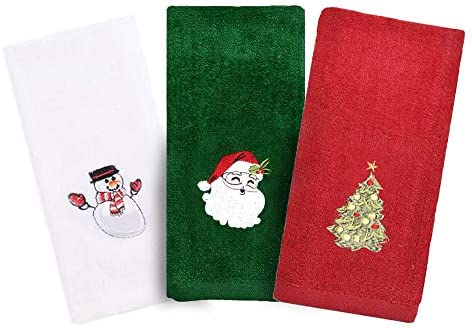 Christmas Hand Towels 3 Packs Decorative Dish Towels Set 100 Cotton Wash Basin Towels for Drying product image