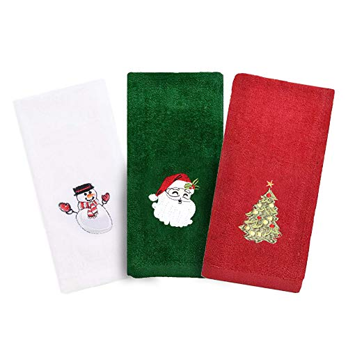 Christmas Hand Towels, 3 Packs Decorative Dish Towels Set, 100% Cotton Wash Basin Towels for Drying, Cleaning, Cooking & Baking, Embroidered Christmas Holiday Design Towels Gift Set