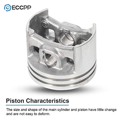 ECCPP 40mm Cylinder Head Piston Kit WT Gasket Oil Seal fit for Stihl 020 020T MS200 MS200T Replaces 1129 020 1202 Piston Pin Rings Circlip Chainsaw Parts New