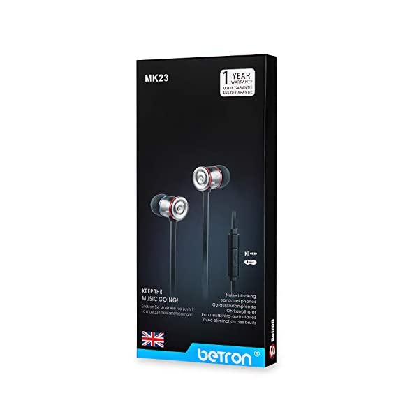 Betron MK23Mic Earbuds with Microphone, Noise Isolating Earphone, Flat Cable, Replaceable Earbuds, in Ear Headphones for iPhone, iPad, MP3 Players, Samsung, Android Devices and More 4
