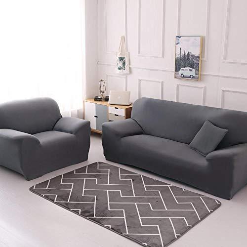 Allenger Thick Sofa Covers,Einfarbige Stretch-Sofabezug, 4 Jahreszeiten universelle rutschfeste Sofabezug, einfarbige Möbel staubdichte Sofakissenbezug-grau_90-140cm