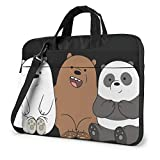 Anime We Bare Bears Laptop Bag Backpack Sleeve Case Cover for Women Men Portable Briefcase Tote Cases Double-Layer Large Capacity 15.6 Inch