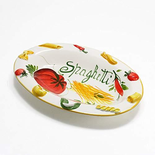 イタリア製 ハンドメイド 陶器製 プレート トマト spaghetti ペペロンチーノ ショートパスタ カフェ 食器 深皿 パスタプレート イタリアンレストラン プレート Italy 27cm bre-1435-28tov