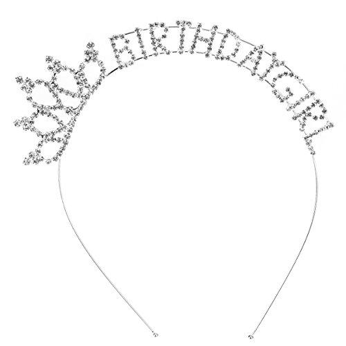 """Frcolor Tiara aus Strasskristallen, Haarreifen-Krone für die kleine Prinzessin, Geburtstagskrone für Mädchen mit der Schrift """"Happy Birthday"""""""