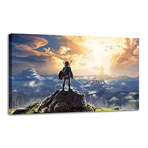 YB Cartoon Zelda Legend Wild Breath muurkunst fotodruk op canvas schilderij Home canvas muurkunst decoratie -30x45cm met interne lijst