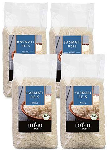 Lotao Set Basmati Reis Vollkorn / Weiß, Bio, 4x 500 g (Weiß, 4 x 500 Gramm)
