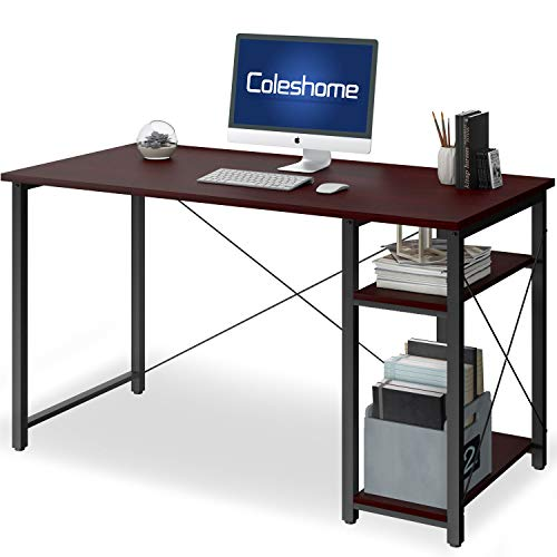 """Computer Desk with Shelves,47"""" Modern Sturdy Writing Desk for Home Office,Office Desk with Bookshelf,African Walnut"""