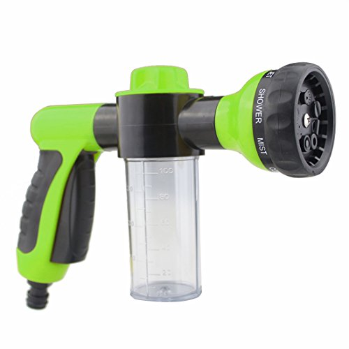 GAMPRO 8 in 1 High Pressure Spray Nozzle Water Shape Sprayer 8 Spray Settings with Foam Clean Function, Best for Car Washing, Gardening, Pet Washing Etc(Green)