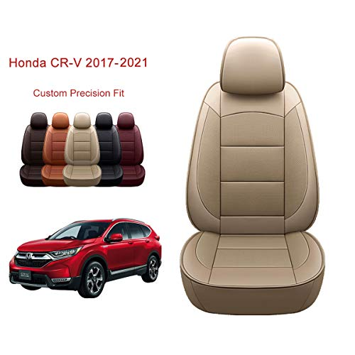 OASIS AUTO 2017-2021 CRV Custom Fit PU Leather Seat Cover Compatible with 2017-2018-2019-2020-2021 Honda CR-V (2017-2021 CRV, TAN)
